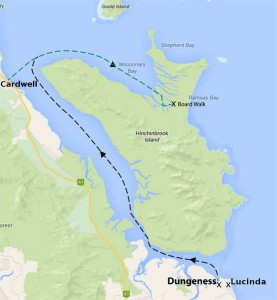 This is our trip route map starting from Lucinda or Dungeness travelling through the bays of cardwell then Mission Bay, Ramsay Bay and Hinchinbrook Island and walk of the Thorsborne Trail