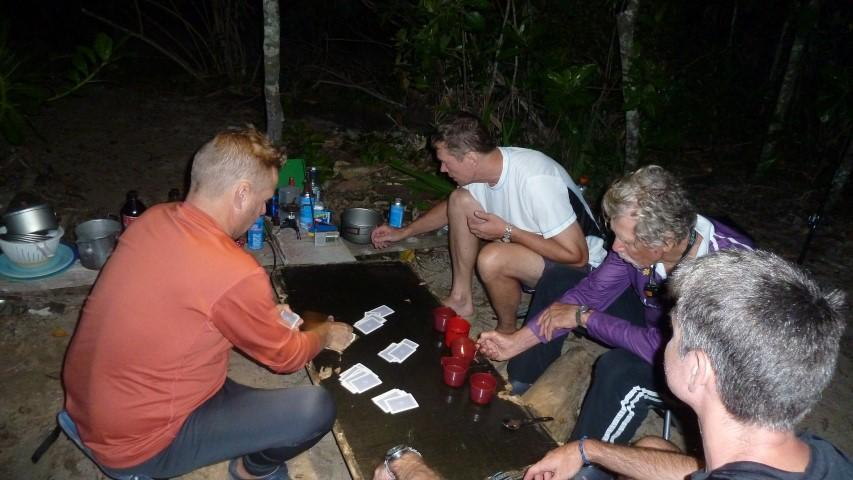 Listening to NRL State of Origin at Banksia Bay with a card game