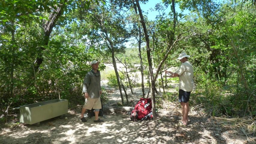 Arriving at Banksia bay and applying insect repellant