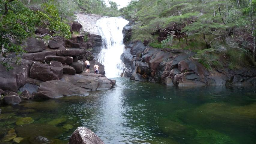 Mulligan Falls, large Jungle Perch fish are found in all large bodies of fresh water on Hinchinbrook