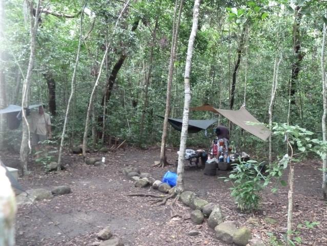 One of the many campsites near Mulligan Falls