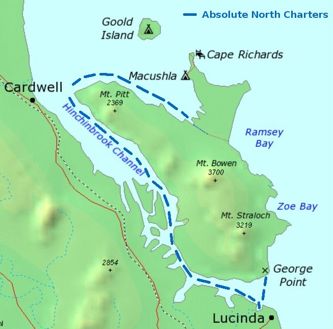 Map of George point and other drop location points at Hinchinbrook by ferry transfers