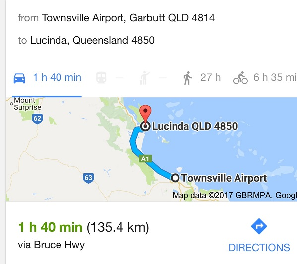 DRIVE TIME AND DISTANCE MAP FROM TOWNSVILLE AIRPORT TO LUCINDA