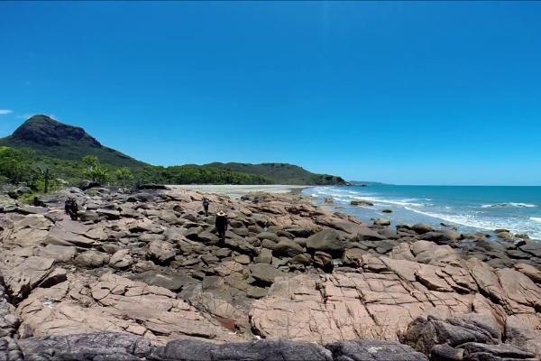 A Rockey shore of the Thorsborne Trail while hiking at Hinchinbrook Island